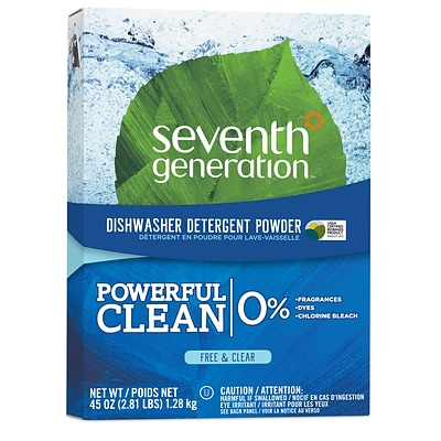 Seventh Generation Free & Clear Powerful Clean Dishwasher Detergent Powder, 45 oz., Unscented (22150)