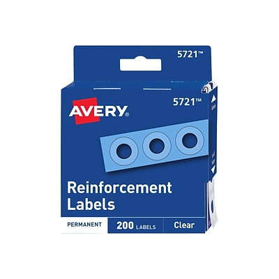 Avery Self-Adhesive Plastic Reinforcement Labels, Clear, 200/Pack (5721)