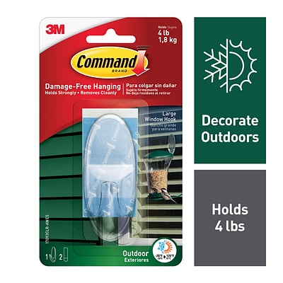 Command™ Outdoor Large Window Hook, Clear (17093CLR-AWES)