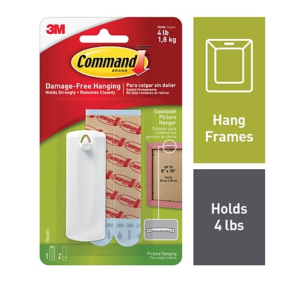 Command™ Sawtooth Picture Hanger, White (17040ES)