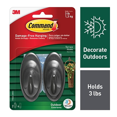 Command™ Outdoor Medium Terrace Hooks, Slate, 2 Hooks (17086S-AWES)
