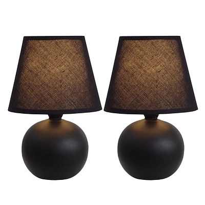 Simple Designs Incandescent Mini Table Lamp Set, Black (LT2008-BLK-2PK)