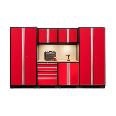 NewAge Products Pro 3.0 Series 7-Piece Garage Cabinet Set, Bamboo Table Top, Red (52252)