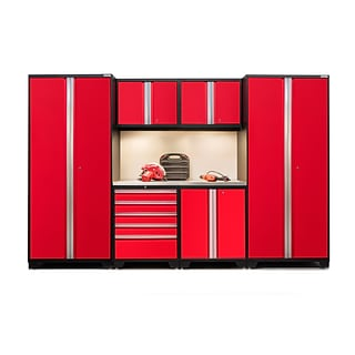 NewAge Products Pro 3.0 Series  7-Piece Garage Cabinet Set, Stainless Steel Table Top, Red (52253)