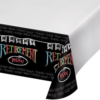 Creative Converting Retirement Chalk Plastic Tablecloth (725977)