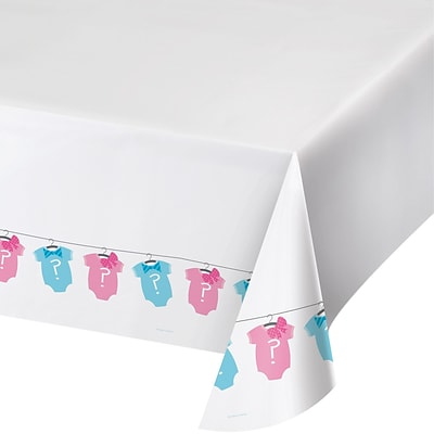 Creative Converting Bow or Bowtie Gender Reveal Plastic Tablecloth (727041)