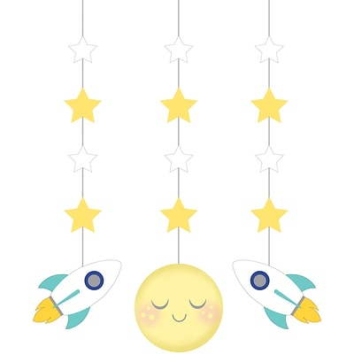 Creative Converting To the Moon and Back Hanging Cutouts 3 pk (322273)