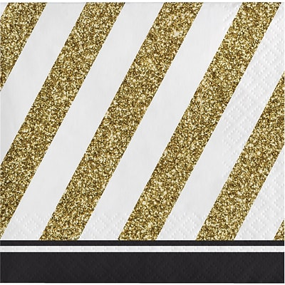 Creative Converting Black and Gold Beverage Napkins 16 pk (317535)