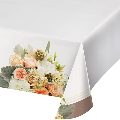 Creative Converting Rose Gold Bouquet Plastic Tablecover (318161)