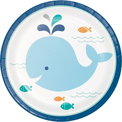 Creative Converting Blue Baby Whale Dessert Plates 8 pk (322199)