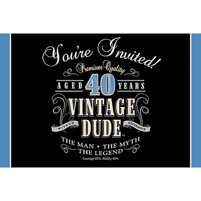 Creative Converting Vintage Dude 40th Birthday Invitations 8 pk (891467)