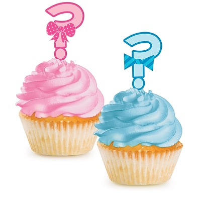 Creative Converting Bow or Bowtie Gender Reveal Cupcake Picks 12 pk (097041)