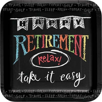 Creative Converting Retirement Chalk Paper Dinner Plates, 8/Pack (425977)