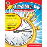 Teacher Created Resources 200 Timed Math Tests: Elementary to Middle Grades (TCR8069)
