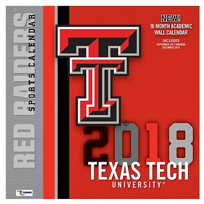 Texas Tech Red Raiders 2018 12X12 Team Wall Calendar (18998011822)