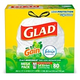 Glad GAIN 13 Gallon OdorShield Tall Kitchen Drawstring Trash Bags, 80 Bags/Box (78900)