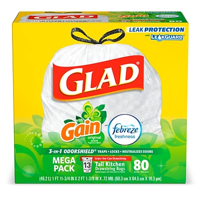 Glad OdorShield 13 Gallon Drawstring Trash Bags, Original Gain, .72 mil, 23.74 x 25.4, White, 80 Bags/Box (78900)