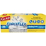 Glad ForceFlex 6 to 8 Gallon Liner Trash Bags, Low Density, 0.69 Mil, 20.25 x 20, White, Coreless Ro