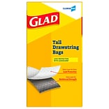 Glad 13 Gallon Tall Kitchen Drawstring Trash Bags, .95 mil, 9.06H x 8.75W, Gray, 100/Box (78374)
