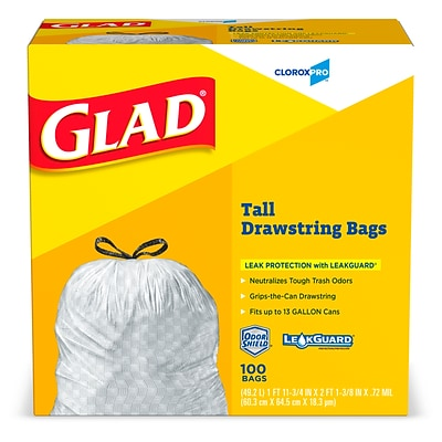 Glad Drawstring 13 Gallon Tall Trash Bags, .71 mil, 23.74 x 25.4, Light Gray, 100 Bags/Box (CLO 78526)
