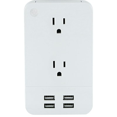 GE 31708 2-outlet Surge-protector Wall Tap with 4 USB Ports