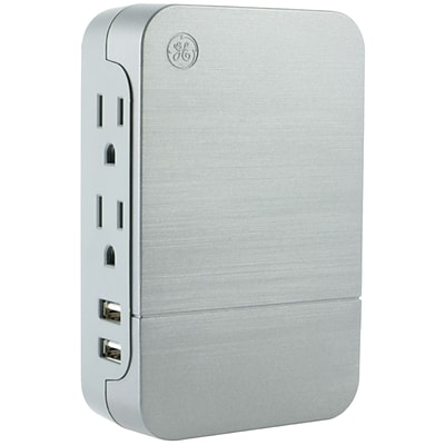 GE 33642 2-outlet Surge-protector Wall Tap with 2 USB Ports