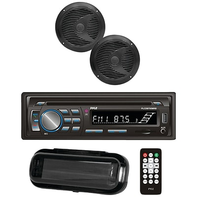Pyle Plcdbt75mrb Marine Single-din In-dash Cd AM/FM Receiver with Two 6.5 Speakers, Splashproof Radio Cover & Bluetooth (black)