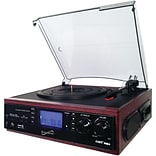 Supersonic Sc-8002tr Professional 3-speed Turntable System With Cassette Player, Built-in Speakers &