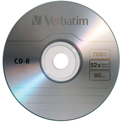 Verbatim 700 MB 80-Minute CD-Rs, 10 Pack (VTM97955)