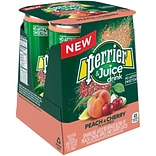 Perrier & Juice, Peach and Cherry Flavor, 8.45 fl oz. Cans, 4/Pack (12397160)