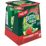 Perrier & Juice, Strawberry and Kiwi Flavor, 8.45 fl oz Cans, 4/Pack (12397159)
