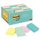 Post-it® Notes, 1 3/8 x 1 7/8 Marseille Collection, 100 Sheets/Pad, 24 Pads/Pack (653-24APVAD)