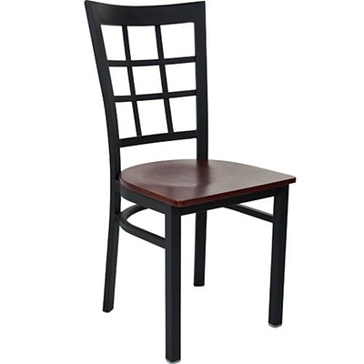 Advantage Window Pane Back Restaurant Chair With Mahogany Wood Seat, 28 Pack (RCWPB-BFMW-28)