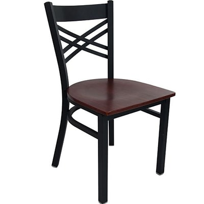 Advantage Cross Back Restaurant Chairs With Mahogany Wood Seat, 28 Pack (RCXB-BFMW-28)