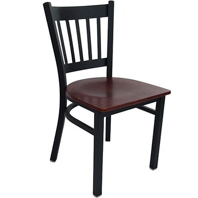 Advantage Vertical Back Restaurant Chair With Mahogany Wood Seat, 28 Pack (RCVB-BFMW-28)