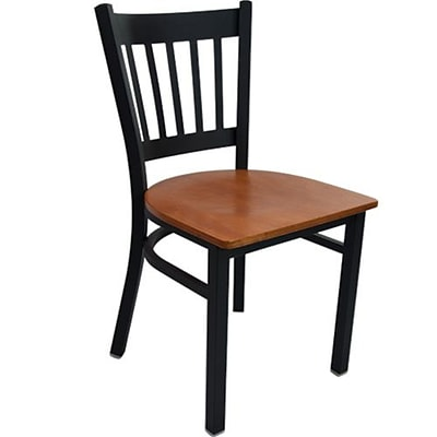 Advantage Vertical Back Restaurant Chair With Cherry Wood Seat, 28 Pack (RCVB-BFCW-28)