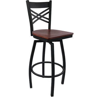Advantage Cross Back Metal Swivel Bar Stool Mahogany Wood Seat, 2 Pack (SBXB-BFMW-2)