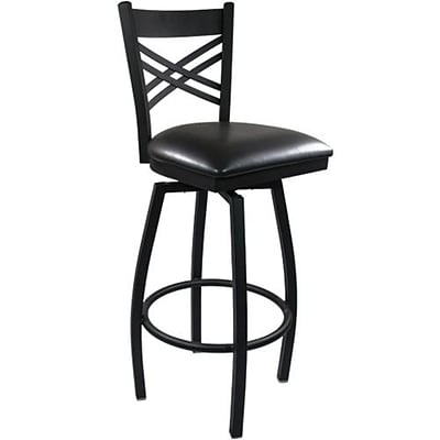 Advantage Cross Back Metal Swivel Bar Stool Black Padded, Pack of 20 (SBXB-BFBV-20)