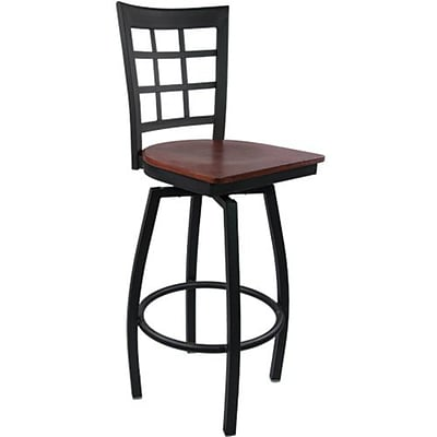 Advantage Window Pane Back Metal Swivel Bar Stool Mahogany Wood Seat, 2 Pack (SBWPB-BFMW-2)