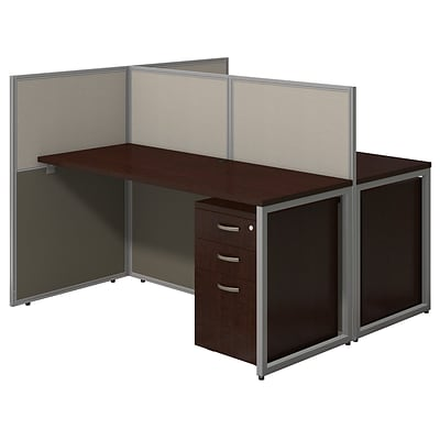 Bush Business Furniture Easy Office 60W 2 Person Straight Desk Open Office  w Two 3 Dwr Mobile Peds, Mocha Cherry (EOD460SMR-03K)