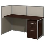 Bush Business Furniture Easy Office 60W Straight Desk Open Office with 3 Drawer Mobile Pedestal, Moc