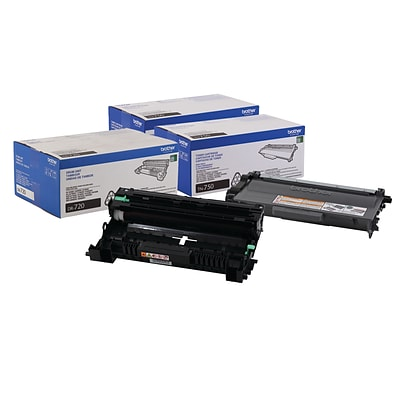 Brother Original DR720  Drum Unit and 2-Pack TN750 Black High Yield Laser Toner Cartridge