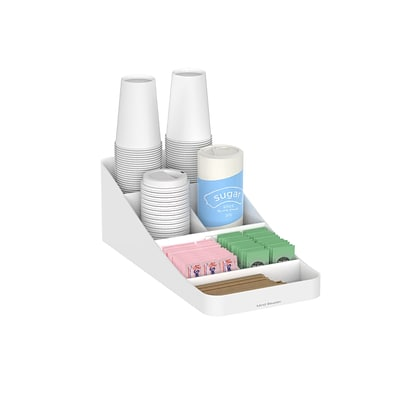 Mind Reader Trove 7 Compartment Coffee Condiment Organizer, White (COMP7-WHT)