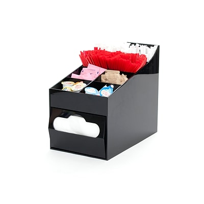 Mind Reader Acrylic 8 Compartment Condiment Organizer with Napkin Holder, Black (COMP8NAP-BLK)