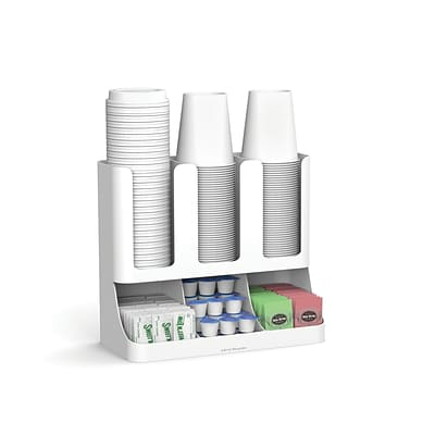 Mind Reader Flume 6 Compartment Upright Coffee Condiment and Cups Organizer, White (UPRIGHT6-WHT)