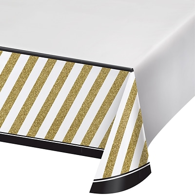 Creative Converting Black and Gold Plastic Tablecloth  (318098)