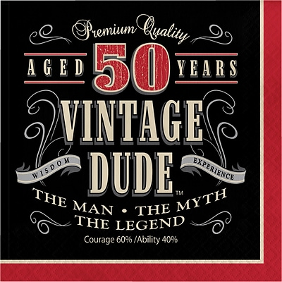 Creative Converting Vintage Dude 50th Birthday Napkins 16 pk (661567)