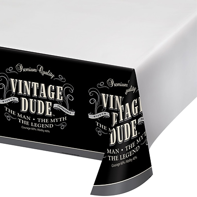 Creative Converting Vintage Dude Plastic Tablecloth  (725567)
