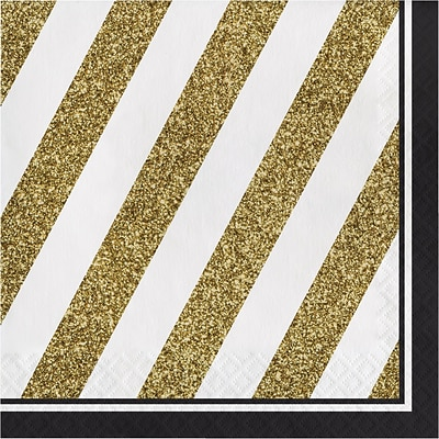 Creative Converting Black and Gold Napkins 16 pk (317536)
