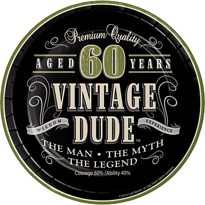 Creative Converting Vintage Dude 60th Birthday Dessert Plates 8 pk (411667)